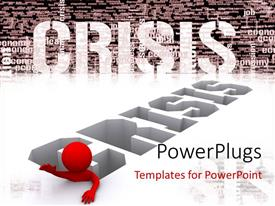 PowerPlugs: PowerPoint template with a person passing through the crisis with word crisis in the background