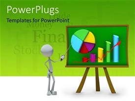 PowerPlugs: PowerPoint template with a person with a pie chart and a graph