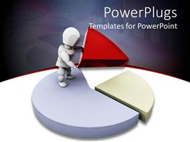 PowerPlugs: PowerPoint template with a person with a pie chart and grayish background