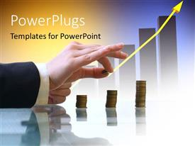 PowerPlugs: PowerPoint template with a person placing the coins with yellowish background