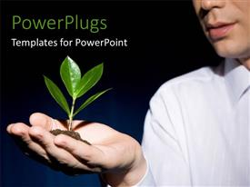 PowerPlugs: PowerPoint template with a person with a plant and bluish background