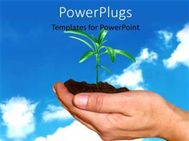 PowerPoint template displaying a person with a plant in his hand