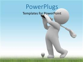 PowerPlugs: PowerPoint template with a person playing golf with sky in the background