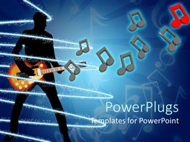 PowerPlugs: PowerPoint template with a person playing the guitar with music signs in the air