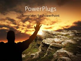 PowerPlugs: PowerPoint template with a person playing to the Lord with mountain in the background