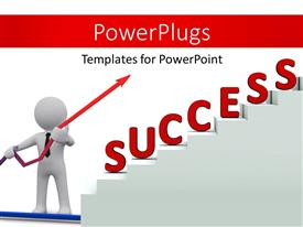 PowerPoint template displaying a person pointing towards the success