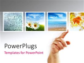 PowerPlugs: PowerPoint template with a person pointing towards various figures of leaves