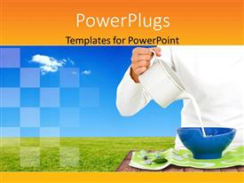 PowerPoint template displaying a person pouring a jar of milk into a bowl