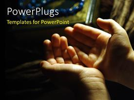 PowerPlugs: PowerPoint template with a person praying with a blurred background and place for text