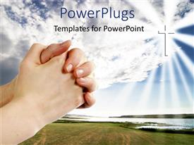PowerPlugs: PowerPoint template with a person praying with a cross in the background