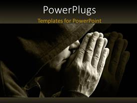 PowerPoint template displaying a person praying in the dark