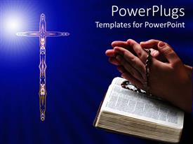 PowerPlugs: PowerPoint template with a person praying in front of the holy cross