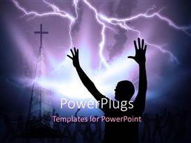 PowerPlugs: PowerPoint template with a person praying to God with a cross in the sky