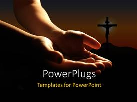 PowerPlugs: PowerPoint template with a person praying to the God with a holy cross in the background