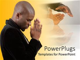 PowerPlugs: PowerPoint template with a person praying to God with various hands in the background