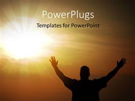 PowerPlugs: PowerPoint template with a person praying to the Lord with sun in the background
