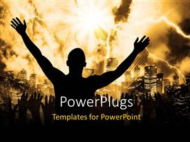 PowerPlugs: PowerPoint template with a person praying with a lot thunderbolts in the background