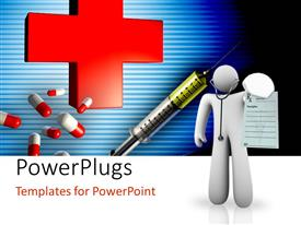 PowerPlugs: PowerPoint template with a person presenting the idea of a doctor with medical sign in background