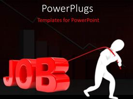 PowerPlugs: PowerPoint template with person pulls the 3D word in red with black color