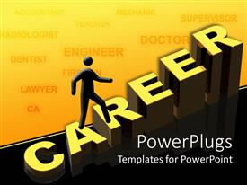 PowerPlugs: PowerPoint template with a person pursuing his career and various careers in the background