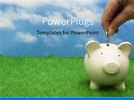 PowerPlugs: PowerPoint template with a person putting a coin in the piggy bank with clouds in the background