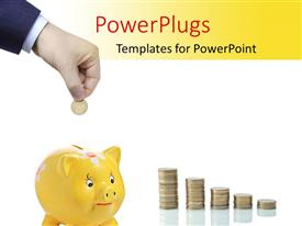 PowerPlugs: PowerPoint template with a person putting coin into piggy bank