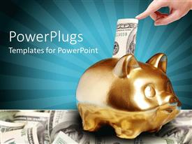 PowerPlugs: PowerPoint template with a person putting money into the piggy bank