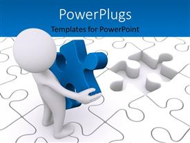 PowerPlugs: PowerPoint template with a person with a puzzle piece in hand