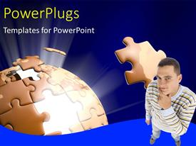 PowerPlugs: PowerPoint template with a person with a puzzle piece missing from the jigsaw puzzle