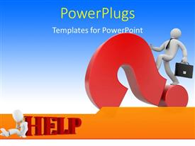 PowerPlugs: PowerPoint template with a person with a question mark and bluish background