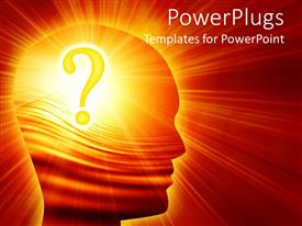 PowerPoint template displaying a person with a question mark in his mind and a lot of lightning