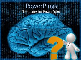 PowerPoint template displaying a person questioning while a brain is being displayed along with binary numbers