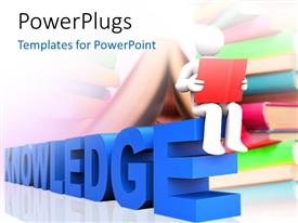 PowerPlugs: PowerPoint template with a person reading the book with books in the background