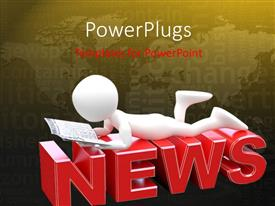 PowerPlugs: PowerPoint template with a person reading a book on top of the word news and map in the background