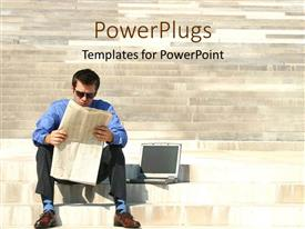 PowerPlugs: PowerPoint template with a person reading the news paper with laptop in the background