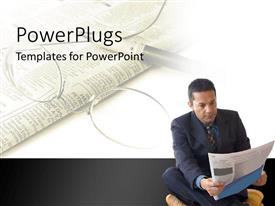 PowerPlugs: PowerPoint template with a person reading a newspaper with newspaper and glasses in the background
