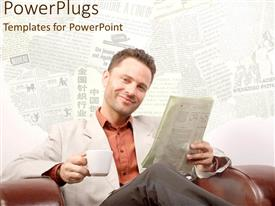 PowerPlugs: PowerPoint template with a person reading the newspaper with the newspapers in the background
