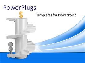 PowerPlugs: PowerPoint template with a person ready to climb the stairs and reach the money