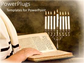 PowerPlugs: PowerPoint template with a person reciting the torah with candles in the background