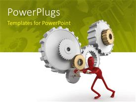 PowerPoint template displaying person in red pushing the gears with green color