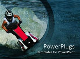 PowerPlugs: PowerPoint template with a person riding the jet ski with lake in the background