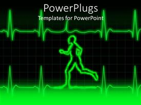 PowerPlugs: PowerPoint template with a person running along with a heartbeat line and boxes in the background