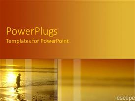 PowerPlugs: PowerPoint template with a person running on a beach with sea in the background