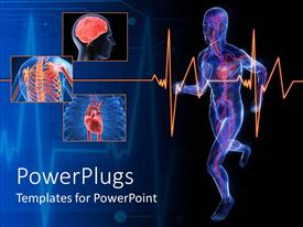 PowerPlugs: PowerPoint template with a person running with his body parts being shown in various pictures