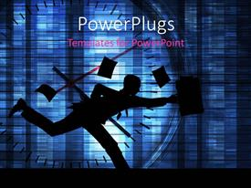 PowerPlugs: PowerPoint template with a person running on a clock with various papers in air