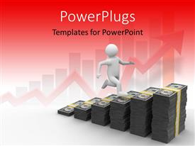 PowerPlugs: PowerPoint template with a person running on the dollar note bundles