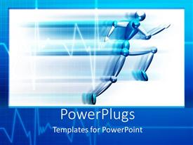 PowerPoint template displaying person running at a fast speed, blue and white line graph background