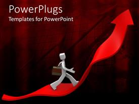 PowerPlugs: PowerPoint template with a person running on a growth arrow with reddish background