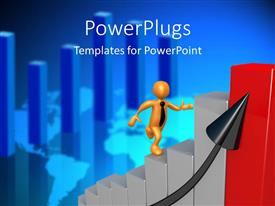 PowerPlugs: PowerPoint template with a person running on the growth bar with a bluish background