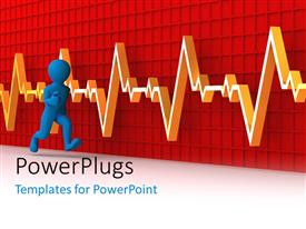 PowerPlugs: PowerPoint template with a person running with a heartbeat line in the background